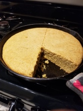 sd cornbread in iron skillet